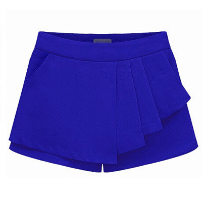 Solid Ruffles Decorated Straight Fit Front Pleated Shorts Skirts - 3 Colors