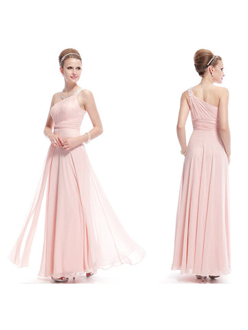 Elegant One Shoulder Ankle-Length Sleeveless Evening Dress