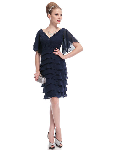 Sexy V-Neck Knee Length Butterfly Sleeve Ruffled Bottom Party Dress