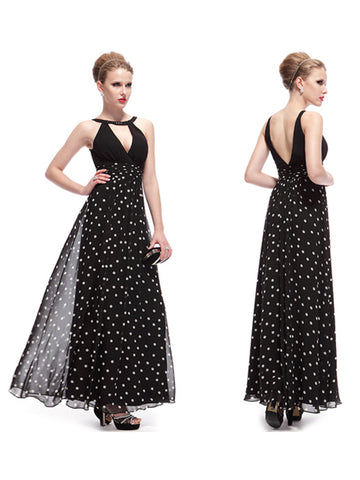 Sexy Polka-Dotted Ankle-Length V-Neck Sleeveless Black Evening Dress