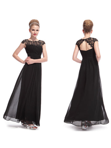 Elegant Long Lacey Scoop Neckline Open Back Ruched Bust Evening Dress