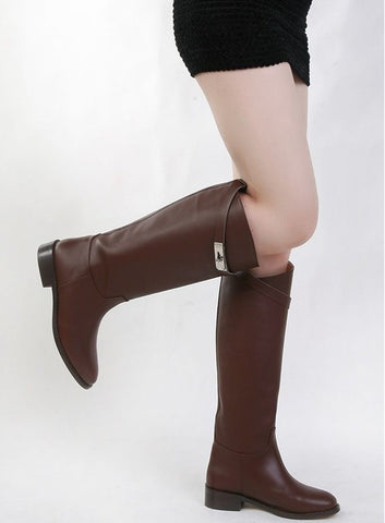 Elegant Slip-On Buckle Decorated Round Toe Knee High Boots - 2 Colors