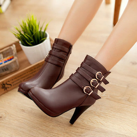 Solid Soft Leather Spike Heels Round Toe Zip Closure Boots