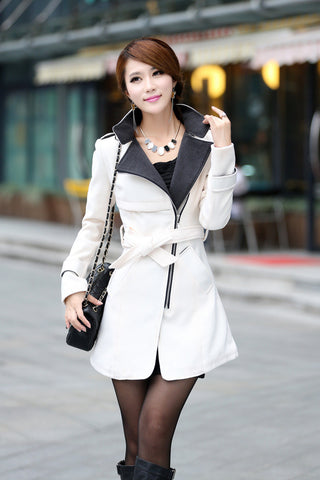 Turn-down Collar  Ladies Trench Coat Overcoat