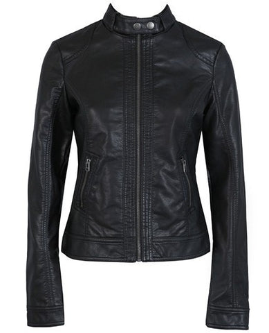 Mandarin Collar Slim leather motorcycle jacket