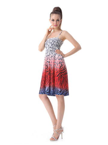 Red Printed Casual Spaghetti Strap Sleeveless Skirt