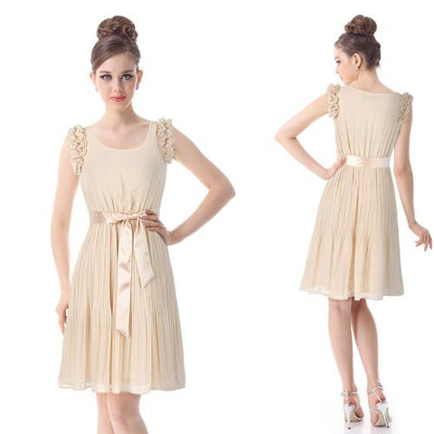 Chiffon Fashion Appliques Sleeveless Square Collar Knee-Length Skirt - 3 Colors