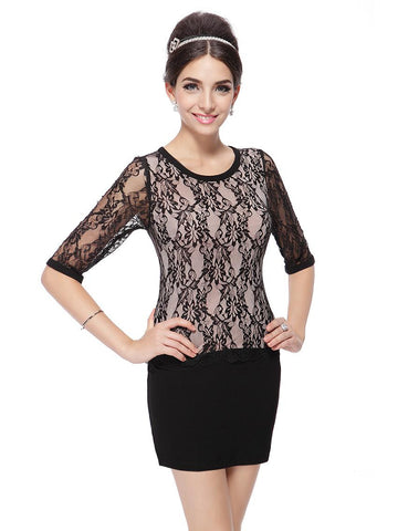 Elegant O-Neck Regular Half Sleeve Mini Lace Dress
