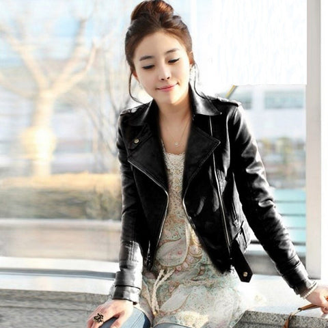 Turn-down Collar Lady Leather Coat Outerwear