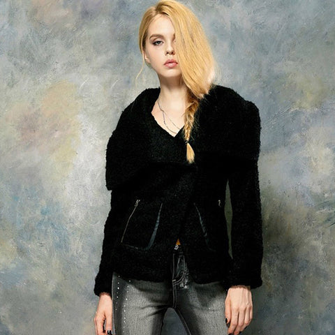 Turn-down Collar with zipper woolen overcoat