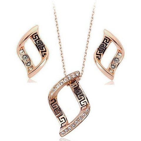 18K Gold Plated Conjunto With Austrian Crystal Stellux Geometric Elements Series Jewelry Set