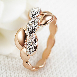 18K Rose Gold Plated With Austrian Crystal Stellux Wheat Series Ring
