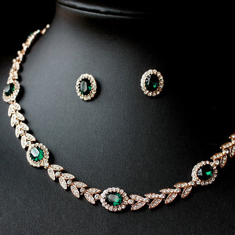 18K Rose Gold Plated With Austrian Crystal Stellux Emerald Jewelry Set