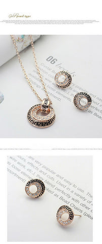 Elegant Geometric Style 18K Rose Gold plated With Austrian Crystal Stellux Jewelry Set