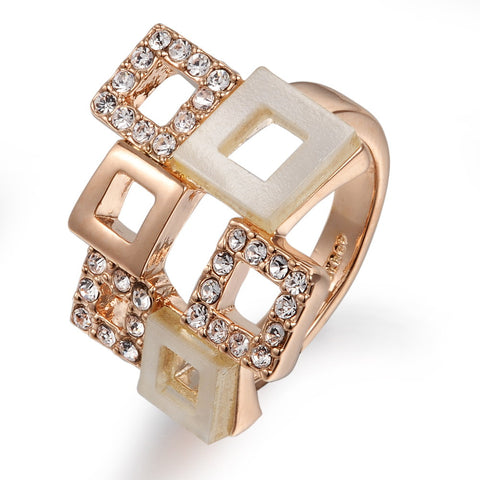 18K Real Gold Plated With Austrian Crystal Stellux Square Geometry Style Ring