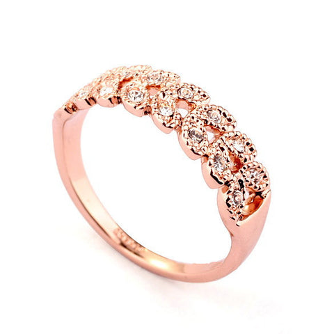 18K Rose Gold Plated Made With Austrian Crystal Stellux Ring