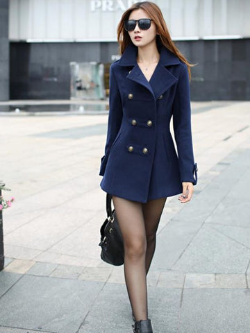 Turn-down Collar long slim cotton lapel overcoat