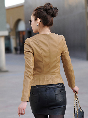 Short-Neck slim coat jacket pu Leather Motorcycle
