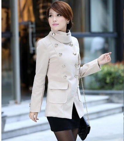 Solid color double breasted stand collar fashion Slim women wool Coat