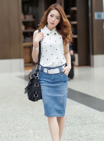 Plus-size knee-slim denim skirt Blue
