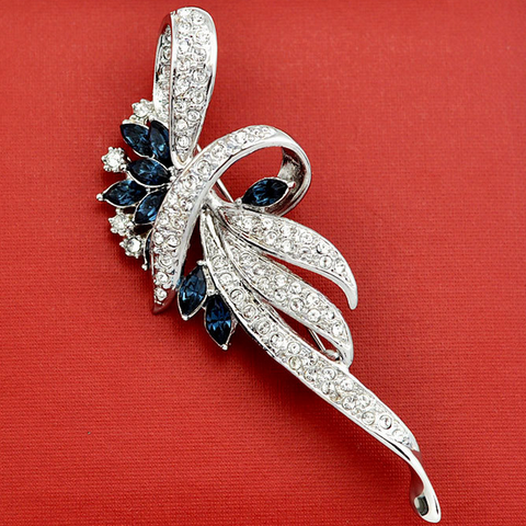 Flower Brooches With Austrian Crystal Stellux Genuine Austrian Crystal Brooch