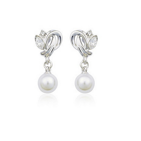 Elegant Genuine Austria Crystal Pendant Pearl With Austrian Crystal Stellux Earrings