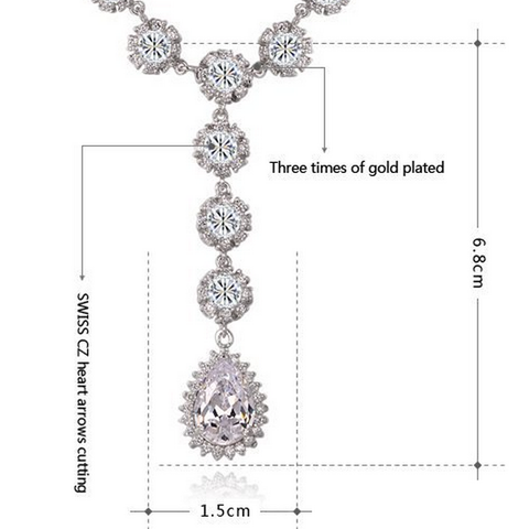 Cubic Zirconia Platinum plating luxury necklace with 500pcs diamond arrow heart cuting Jewelry set
