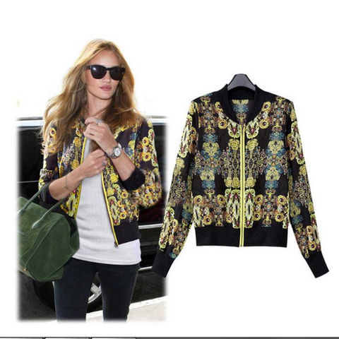 High Street Chiffon Short Jacket Slim Long Sleeve Printed