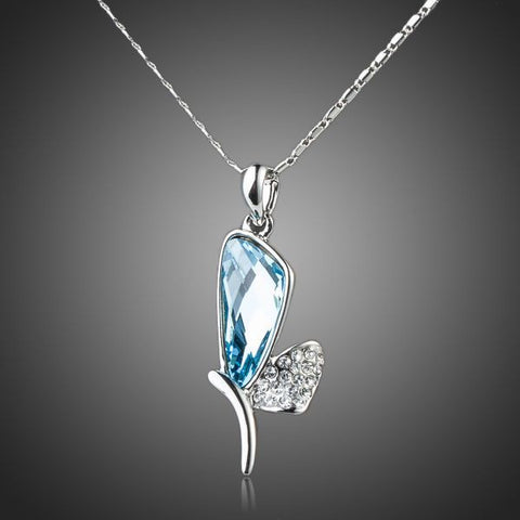 Platinum Plated Bule Stellux Austrian Crystal Dragonfly Wings Pendant Necklace
