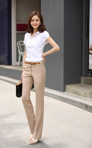 Flat Solid Mid Broadcloth With Zipper Closure Pants
