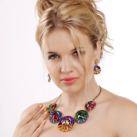 Round Candy Color Resin Beads Necklace and Earrings
