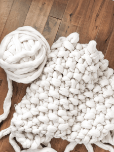 Throw Size - 6 Pound Undyed Cream Chunky Yarn Project