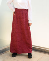 Wool Basic Skirt - Dark Red