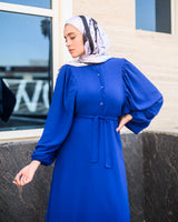 Bell Sleeves Dress-Blue