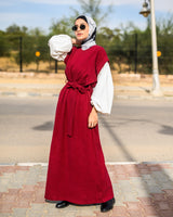 Kashmir Bishop Sleeves Dress-Dark Red