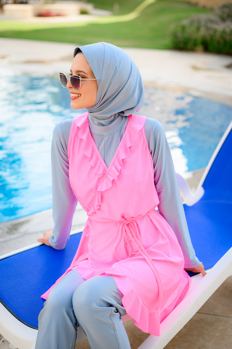 Wrap Burkini - Pink-Grey