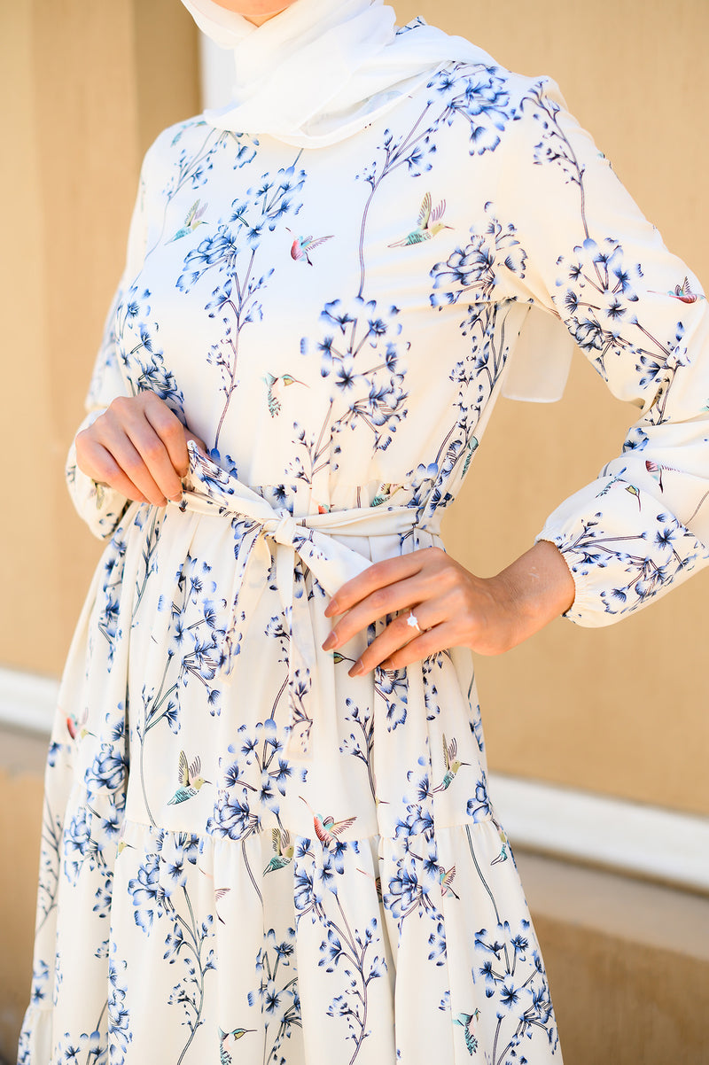 Layered Floral Dress - Off-White