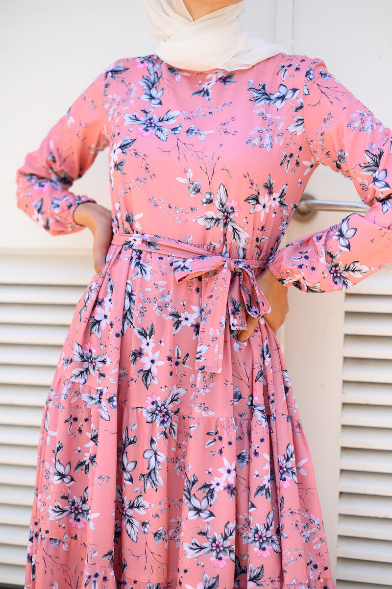 Layered Floral Dress - Cashmere