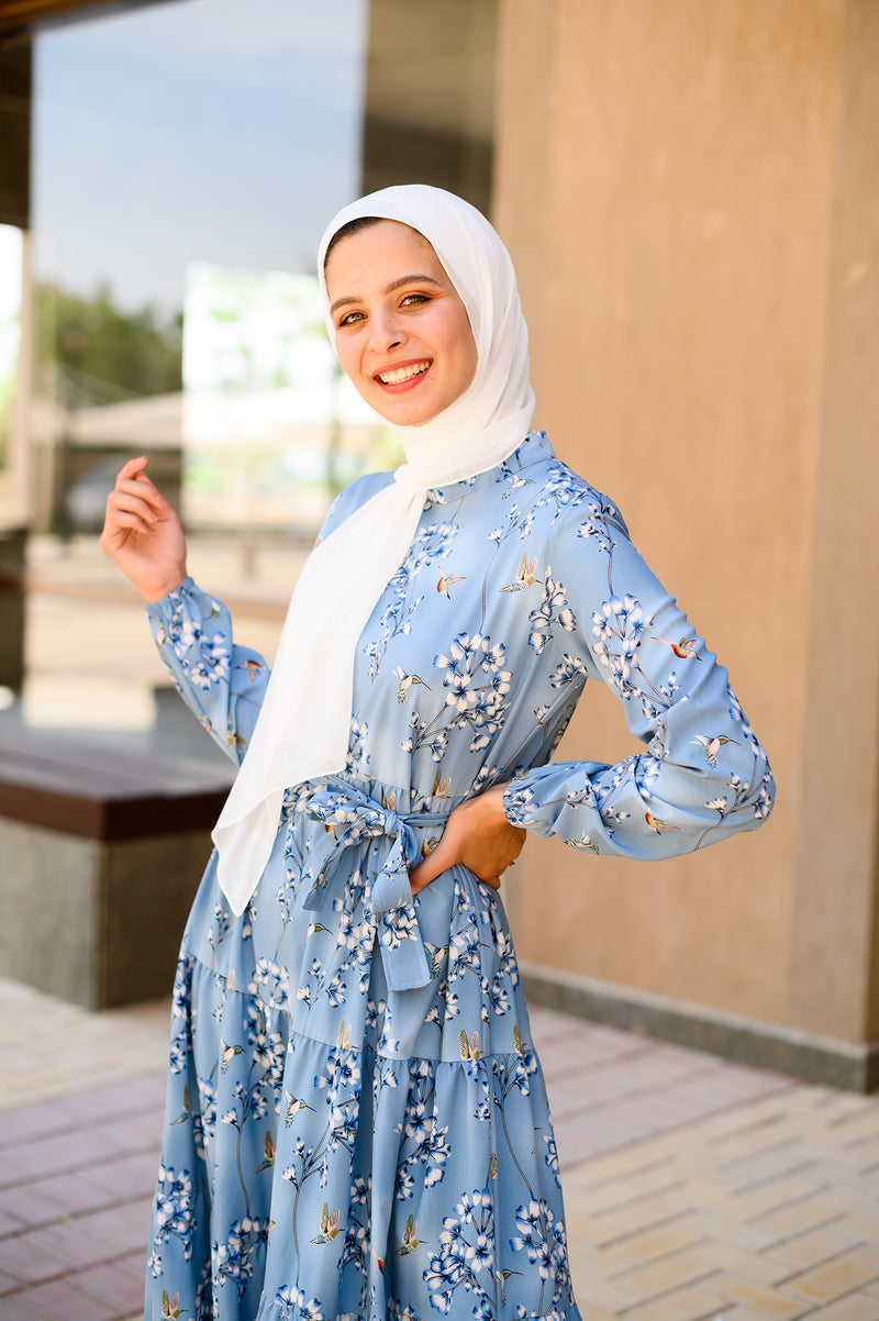 Layered Floral Dress - Blue