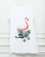 Night Shirt - Flamingo Print - White