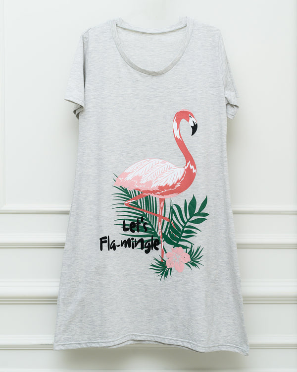 Night Shirt - Flamingo Print - Grey