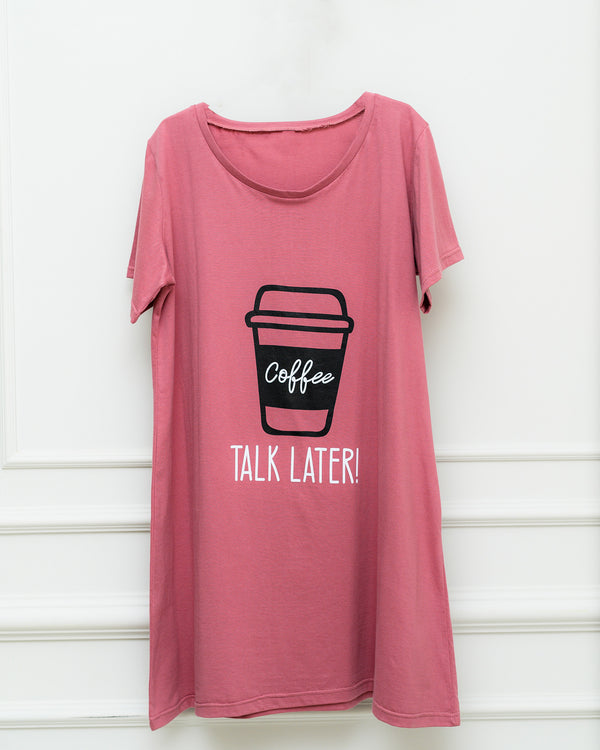 Night Shirt - Coffee Print - Rose