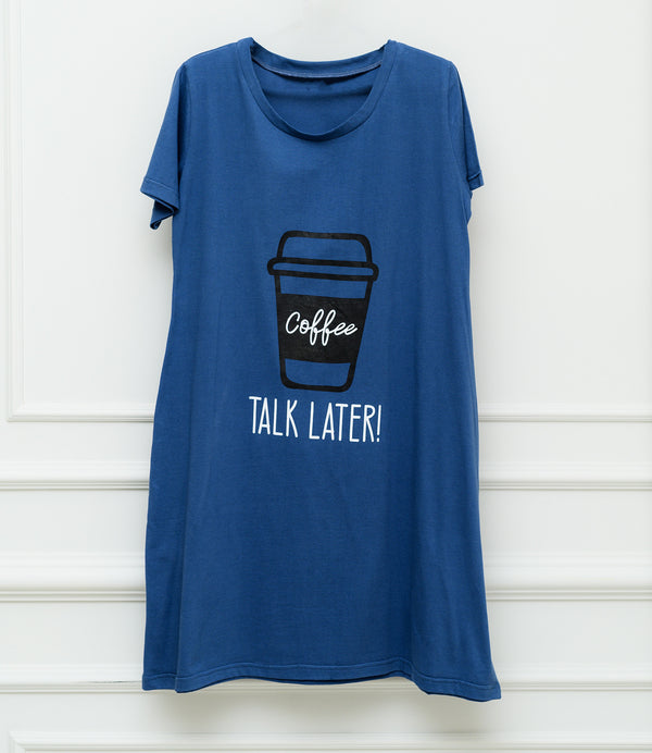 Night Shirt - Coffee Print - Navy