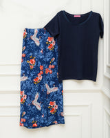 Lace Half-Sleeves PJ Set - Navy