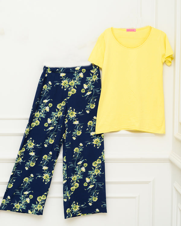 Lace Half-Sleeves PJ Set - Yellow