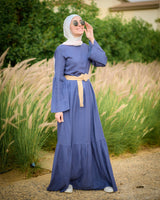 Straw Belt Dress - Purple
