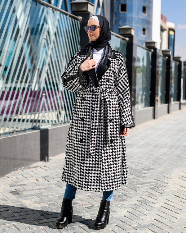 Checked Pea Coat-White