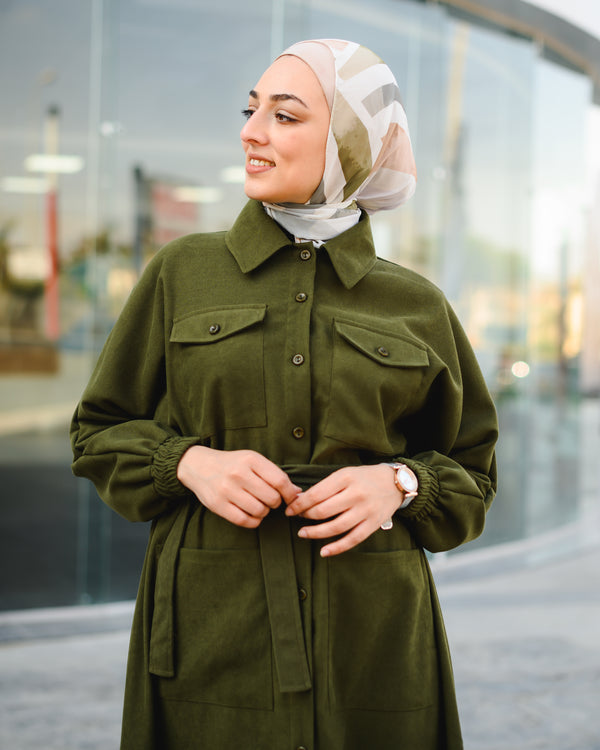 Maxi Safari Shirt-Olive
