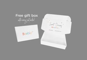 "Imagine shows gorgeous free white gift box, with writing on the inside saying ""sweet dreams beautiful"" Boebiz offer a free gift box with every suit order"