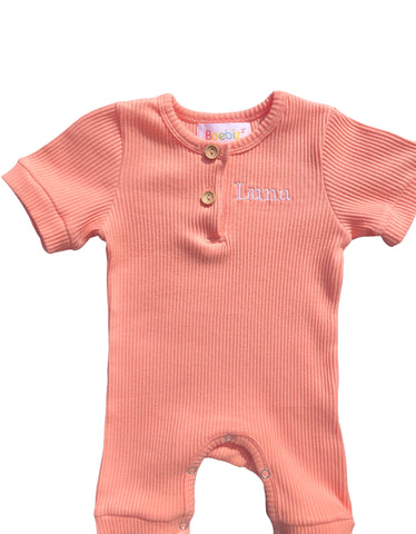 Personalised Coral Summer Romper